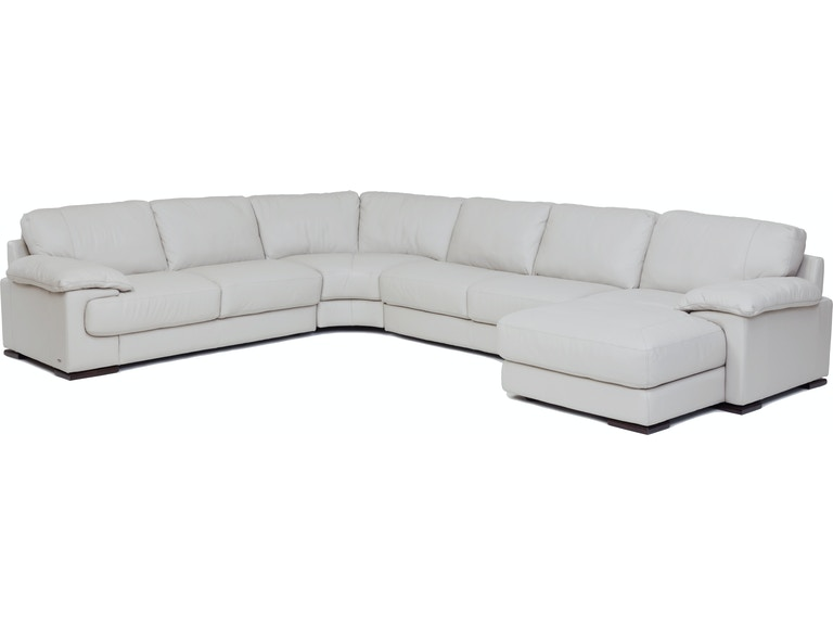 Living Room Denver 4-Piece Leather Chaise Sectional (RAF)- SMOKE