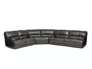 Stampede 3-Piece Leather Power Sectional - CHARCOAL