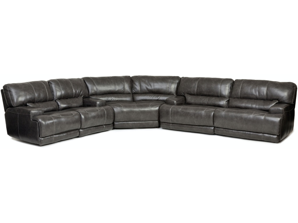 Living Room Stampede Power Motion Leather Piece Sectional CHARCOAL - 3 piece leather sectional sofa