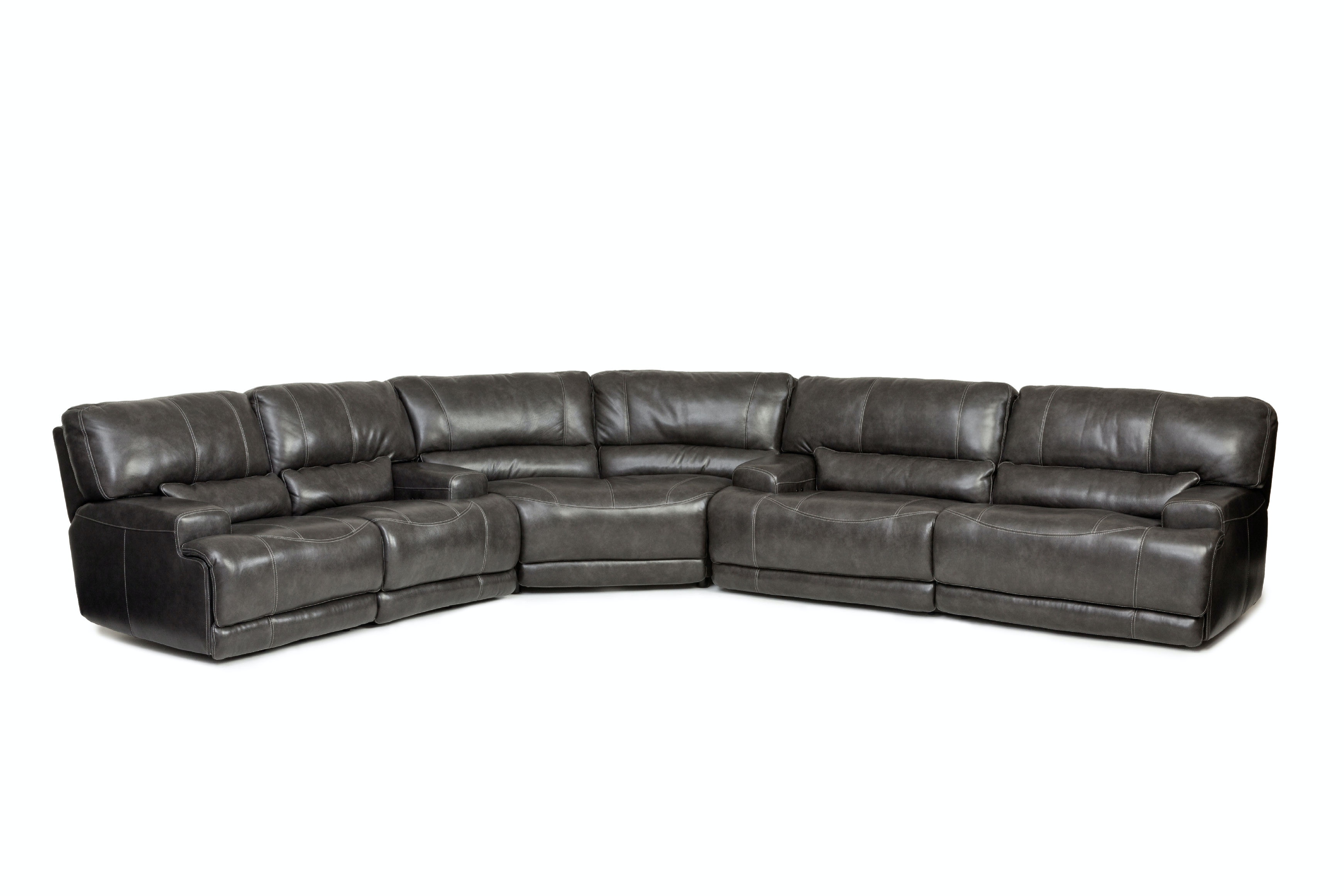 Stampede Power Motion Leather 3 Piece Sectional   CHARCOAL