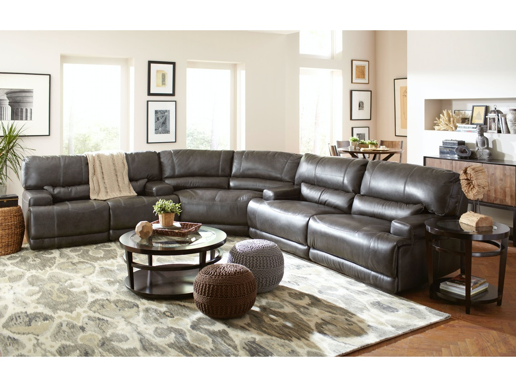 Leather Furniture Living Room Living Room Stampede Reclining Power Leather Sofa