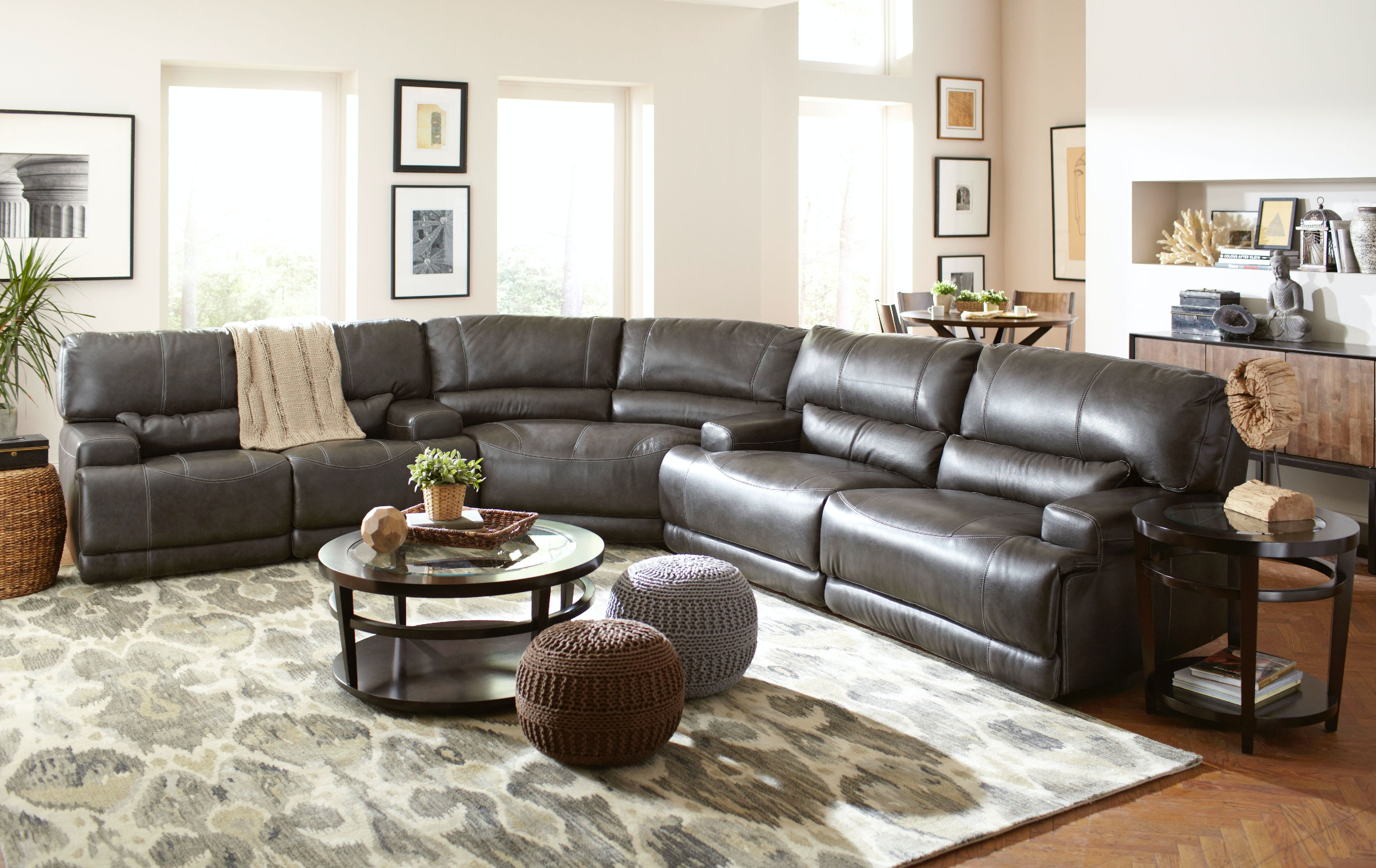 Stampede Power Motion Leather 3 Piece Sectional   CHARCOAL GP:M089