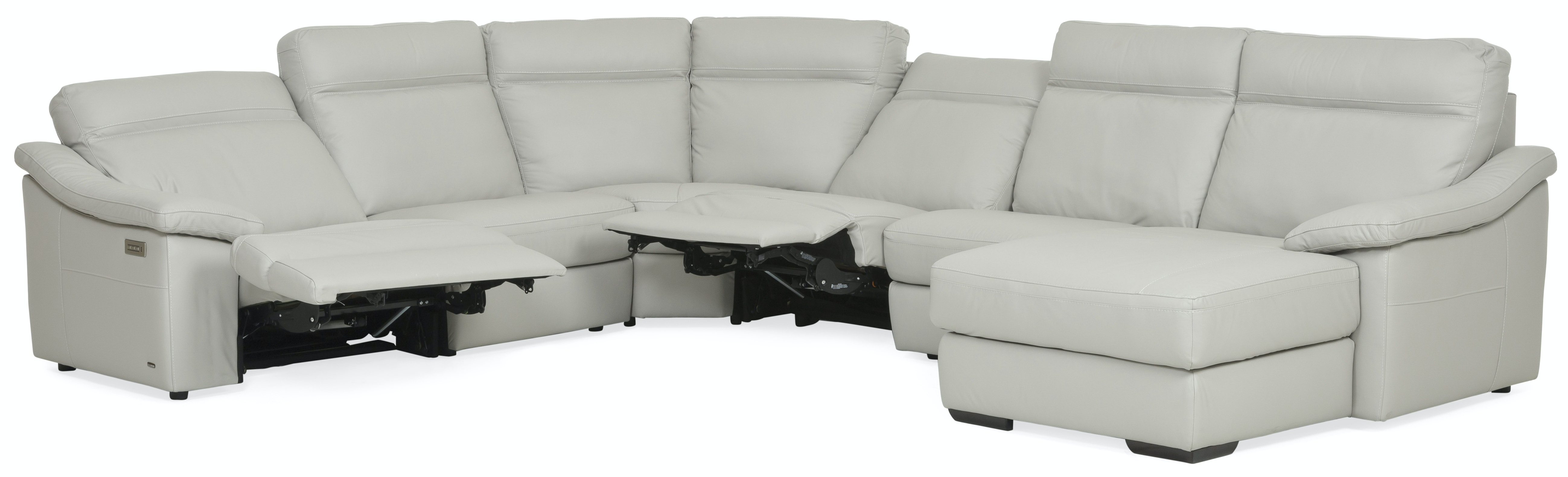 Urban Cement 6 Piece Power Reclining Leather Chaise Sectional (RAF) GP:M139