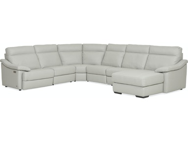 Urban Cement 6 Piece Reclining Leather Chaise Sectional Raf