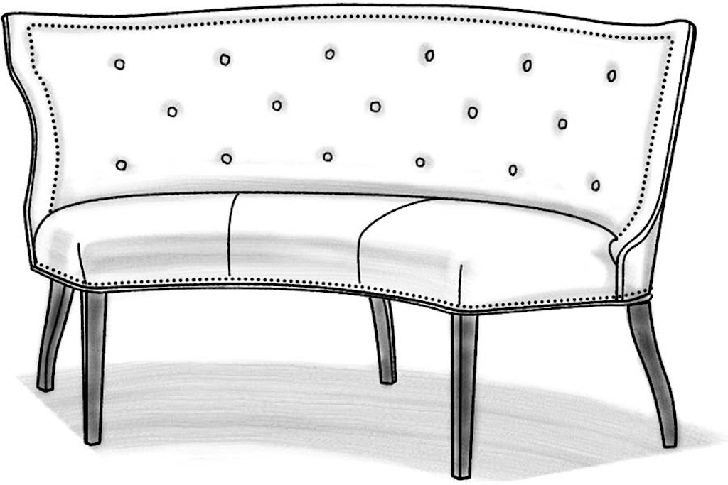 Outstanding Wesley Hall Dining Room Hudson Curved Banquette L625 65 Squirreltailoven Fun Painted Chair Ideas Images Squirreltailovenorg