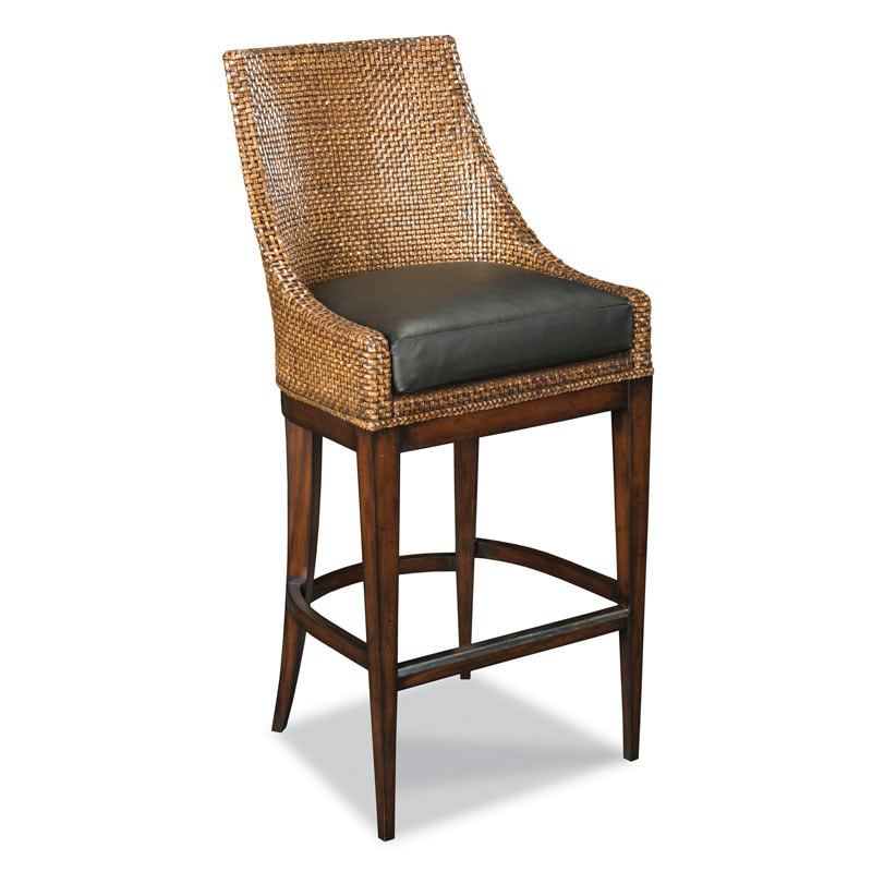 Attractive Woodbridge Furniture Woven Leather Bar Stool 7174 03
