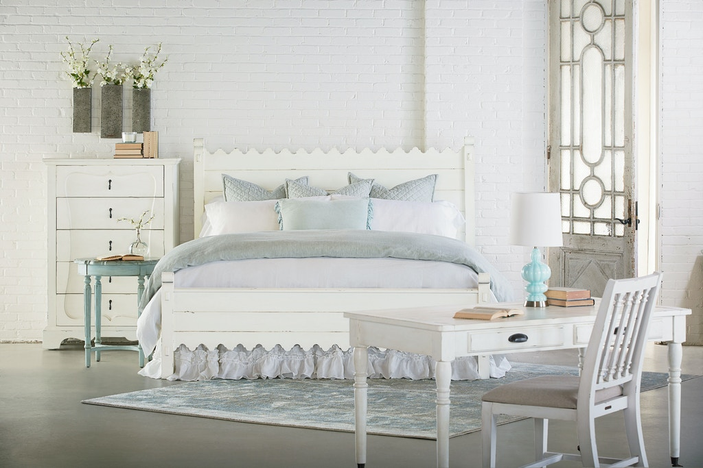 Magnolia home by joanna gaines bedroom scallop king bed 6070111b 6070104b 6070113b tate - Magnolia bedding joanna gaines ...