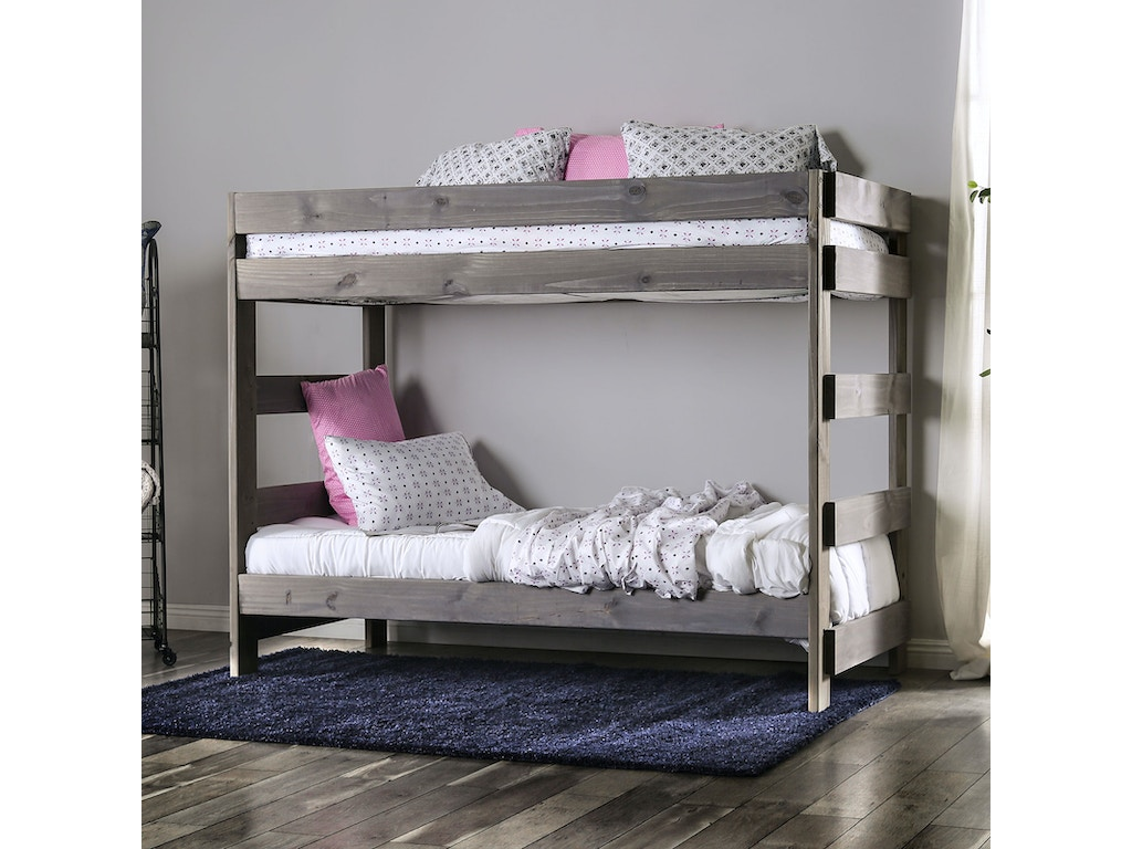 Furniture Of America Youth T T Bunk Bed With 2 Slat Kits Mattress Ready Am Bk100gy Bed Slat