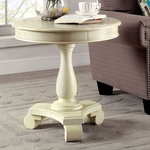 Furniture Of America Round Accent Table Antique White Cm Ac135wh