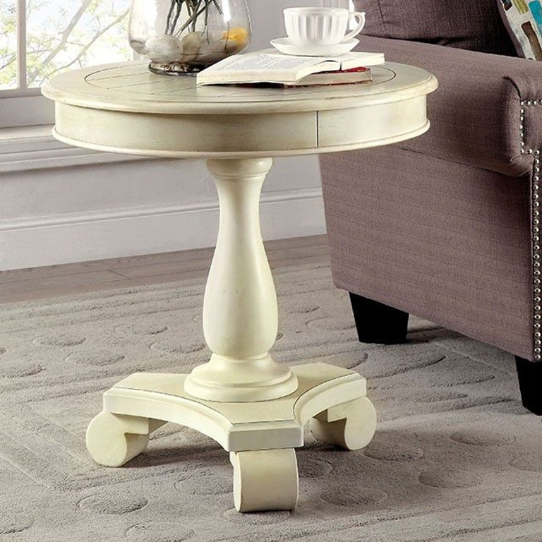 Furniture of America Living Room Round Accent Table, Antique White ...