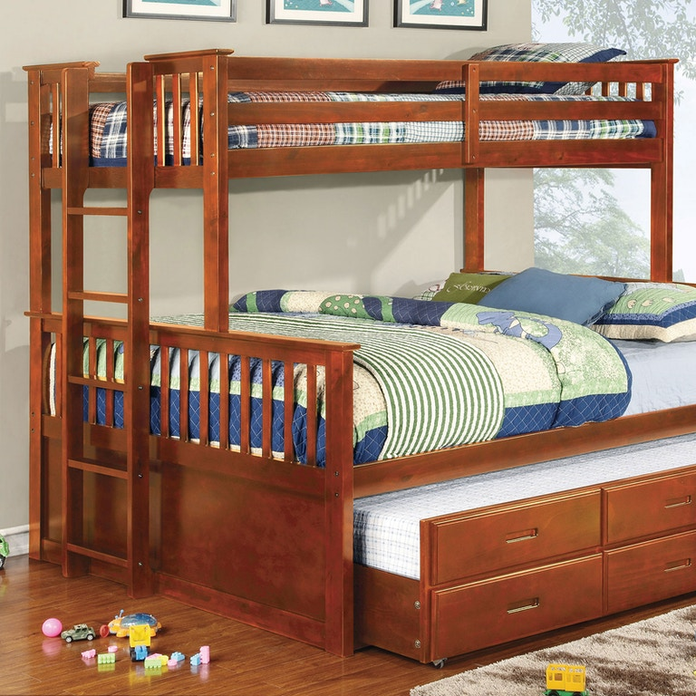 All American Furniture El Paso: Furniture Of America Youth Twin/Queen Bunk Bed, Oak CM