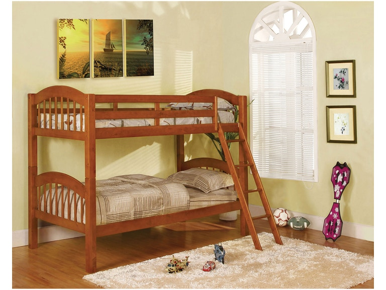 Furniture Of America Youth Twin Twin Bunk Bed Oak Bunkie Board
