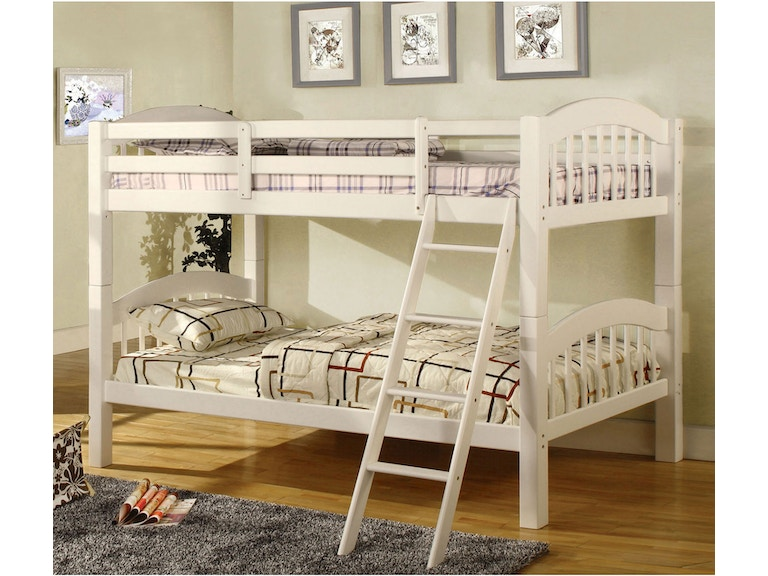 Furniture Of America Youth Twin Twin Bunk Bed White Bunkie Board