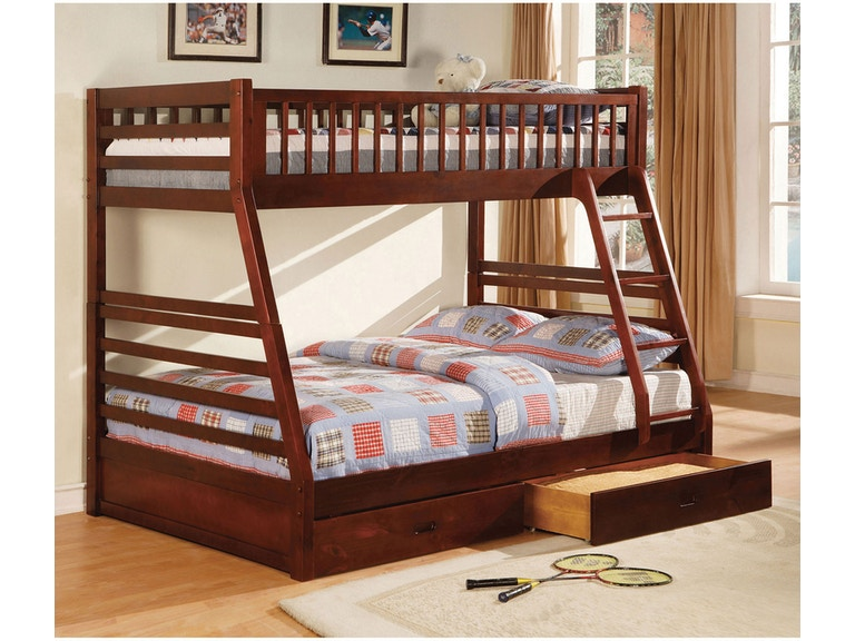 Furniture Of America Youth Twin Full Bunk Bed W 2 Drawers Cherry