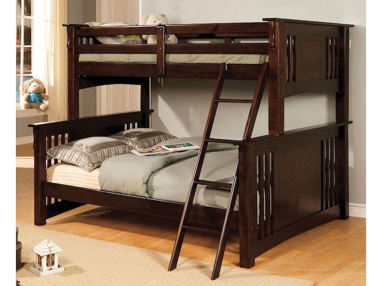 Furniture Of America Youth Twin Full Bunk Bed Dark Walnut Bunkie