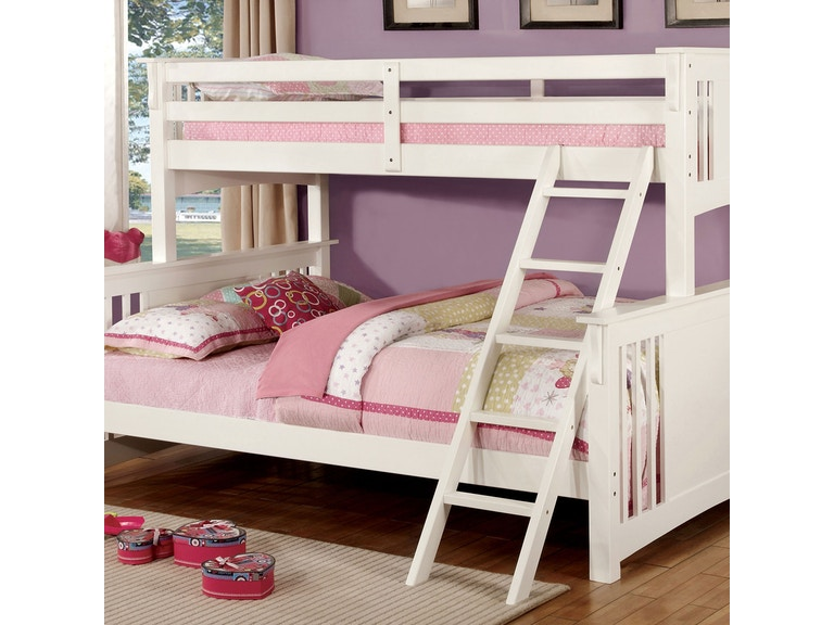 Furniture Of America Youth Twin Xl Queen Bunk Bed White Bunkie