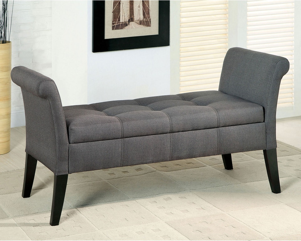 Furniture of America Living Room Storage Bench, Gray CM ...