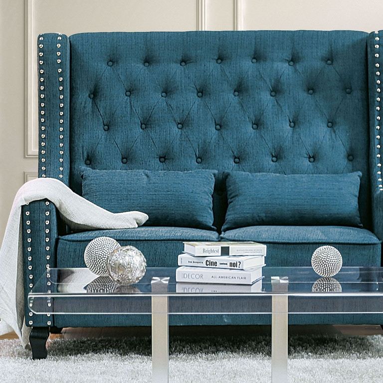 Peachy Furniture Of America Living Room Love Seat Bench Dark Teal Pabps2019 Chair Design Images Pabps2019Com