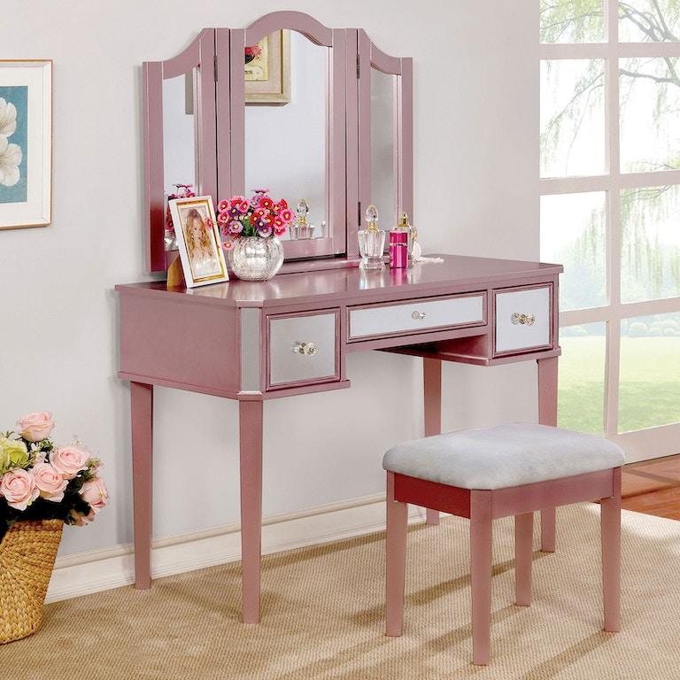 All American Furniture El Paso: Furniture Of America Youth Vanity W/Stool, Rose CM