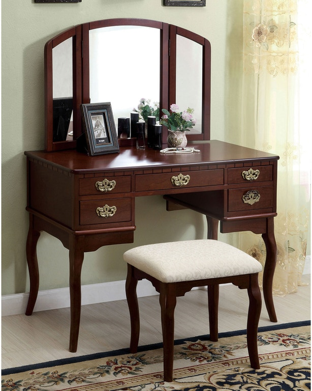 Furniture of America Bedroom Vanity Table, Cherry CM ...