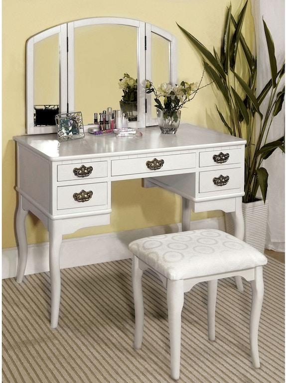 Furniture of America Bedroom Vanity Table, White CM-DK6405WH ...