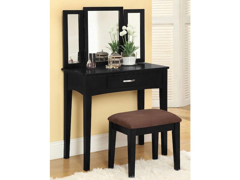 Furniture of America Bedroom Vanity Table w/Stool, Black CM ...