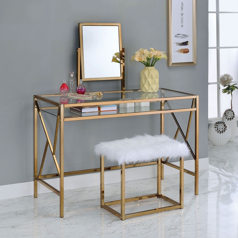 Furniture of America Bedroom Vanity w/Stool, Champagne CM ...
