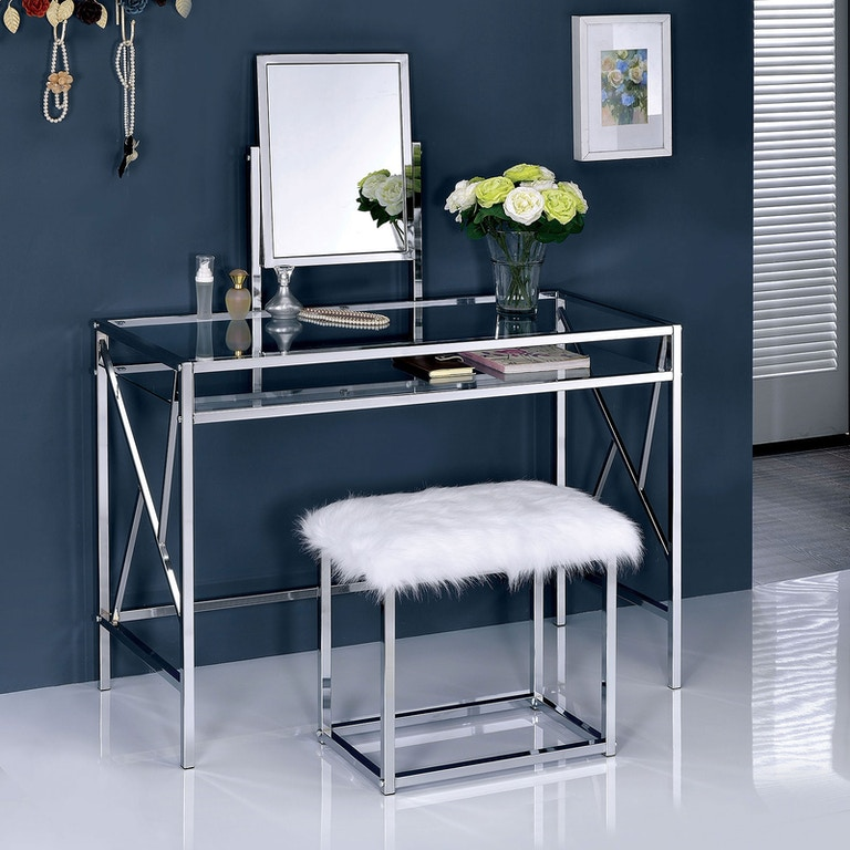 Furniture of America Bedroom Vanity w/Stool, Chrome CM ...
