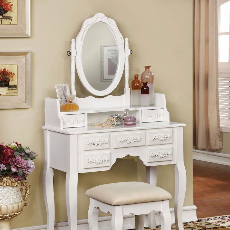 Furniture of America Bedroom Vanity, White CM-DK6845WH ...
