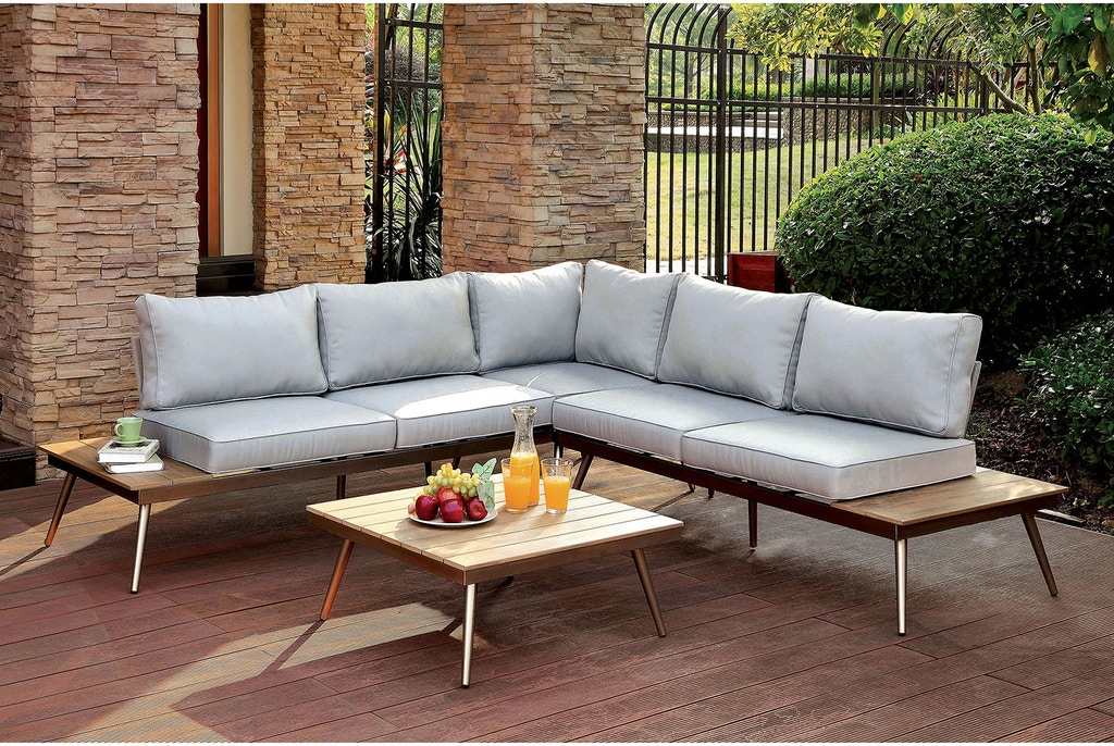 Furniture of America Outdoor/Patio Patio Sectional w/Corner ...
