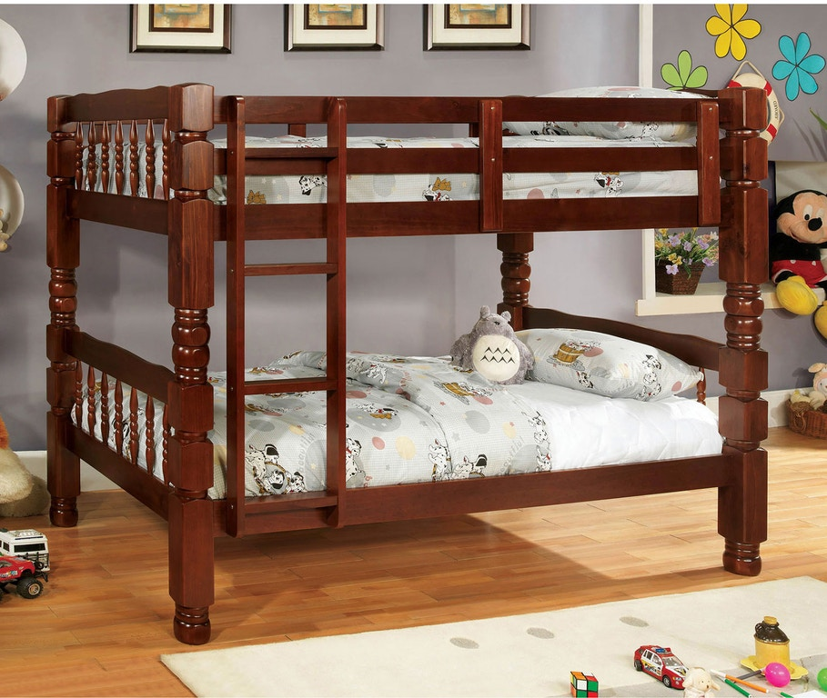 Furniture Of America Youth Twin Twin Bunk Bed Cherry Bunkie Board