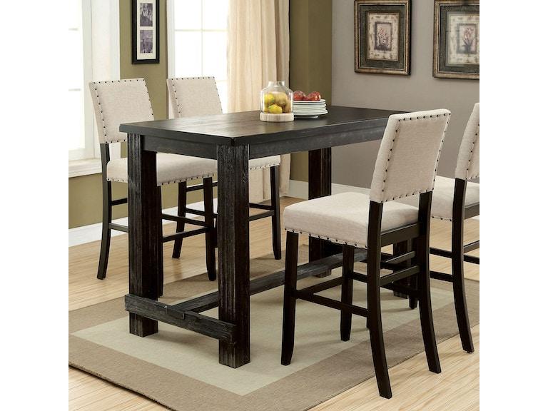Furniture of America Bar Table, Antique Black CM3324BK-BT - Furniture Of America Bar And Game Room Bar Table, Antique Black
