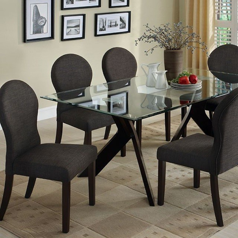Furniture Of America Dining Room Glass Top Dining Table Cm3425t Table Simply Discount Furniture
