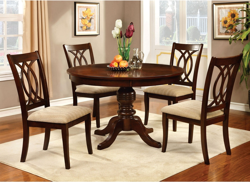 Furniture Of America Dining Room Round Dining Table Cm3778rt Table Anna S Home Furnishings