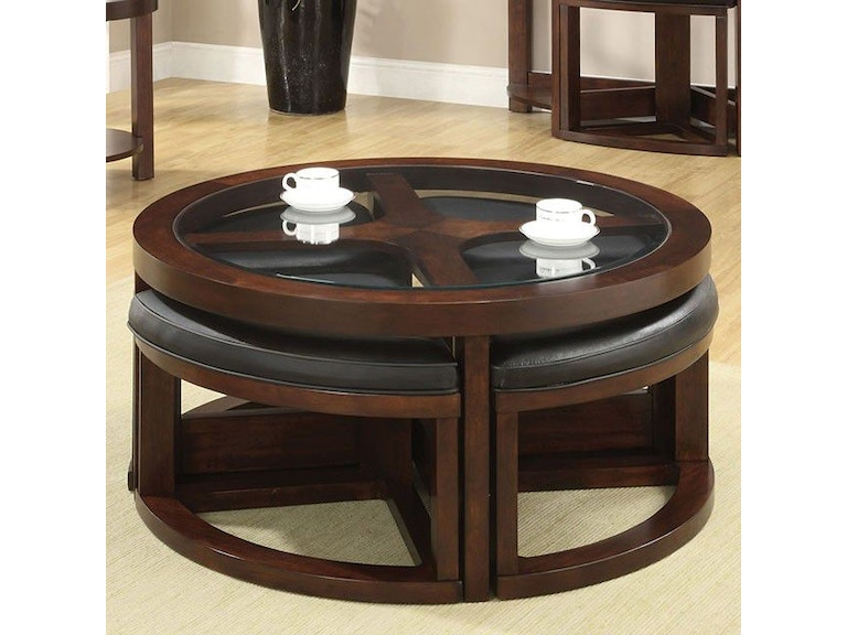 Furniture Of America Living Room Round Coffee Table With 4 Stools Cm4321c Anna S Home Furnishings