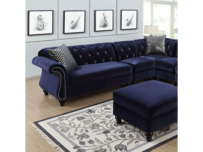 Furniture of America Living Room Sectional/2 Chair, Blue ...