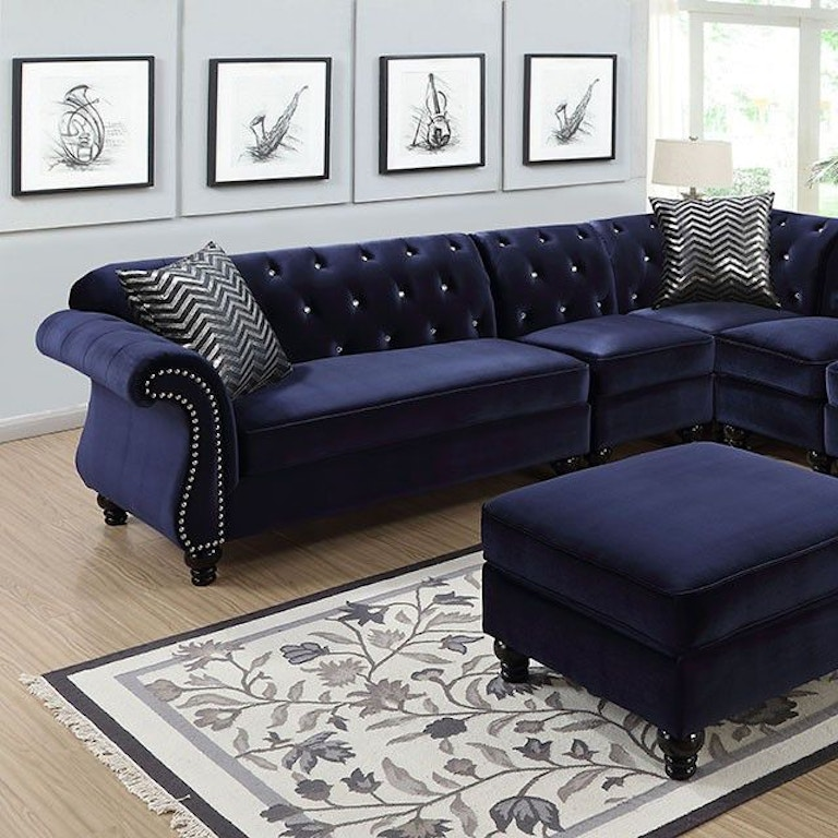 Furniture Of America Living Room Sectional/2 Chair, Blue