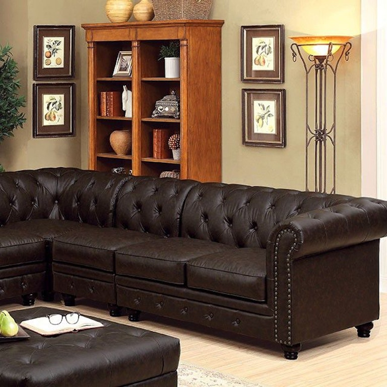 Furniture of America Living Room Sectional, Brown ...