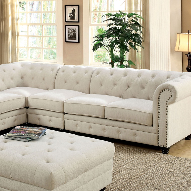 Furniture of America Living Room Sectional, Ivory Fabric ...