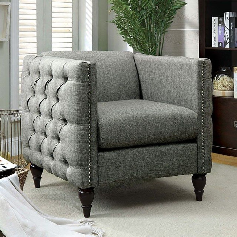 Furniture of America Living Room Chair, Gray CM6780GY-CH-SET ...