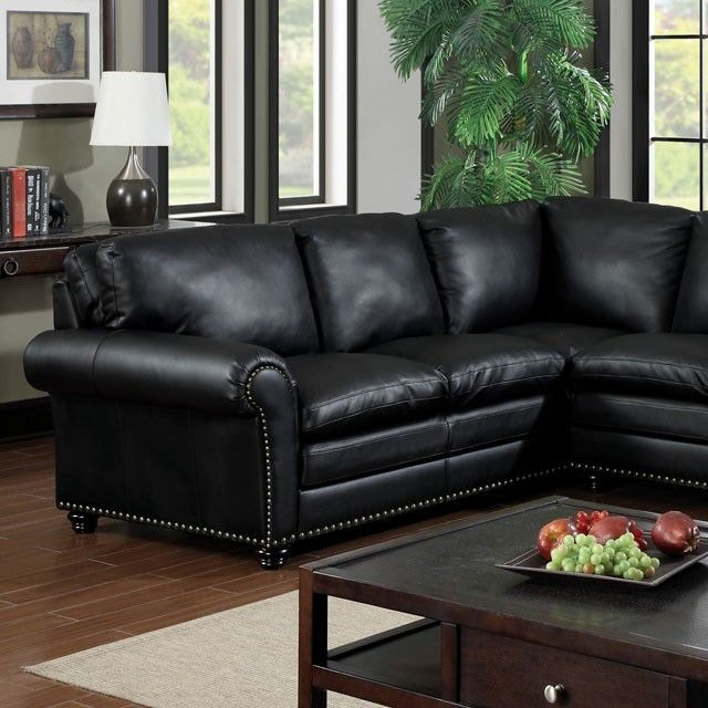 Furniture Of America Living Room Sectional W Bonded Leather Match