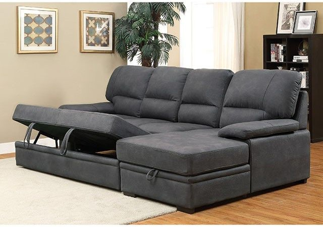 Furniture Of America Living Room Sectional W Sleeper Graphite