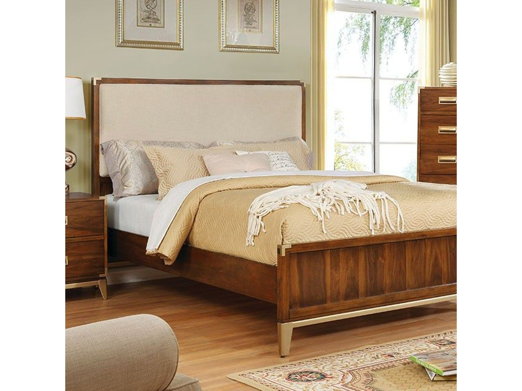 Furniture of America Queen Bed, Fabric Headboard CM7559F-Q-BED