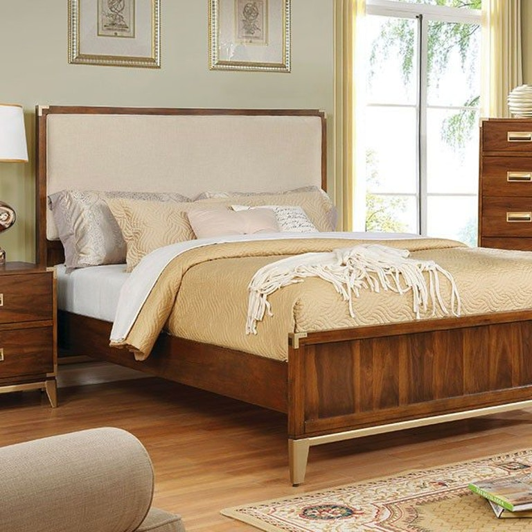 Furniture of America Bedroom E.King Bed, Fabric Headboard ...