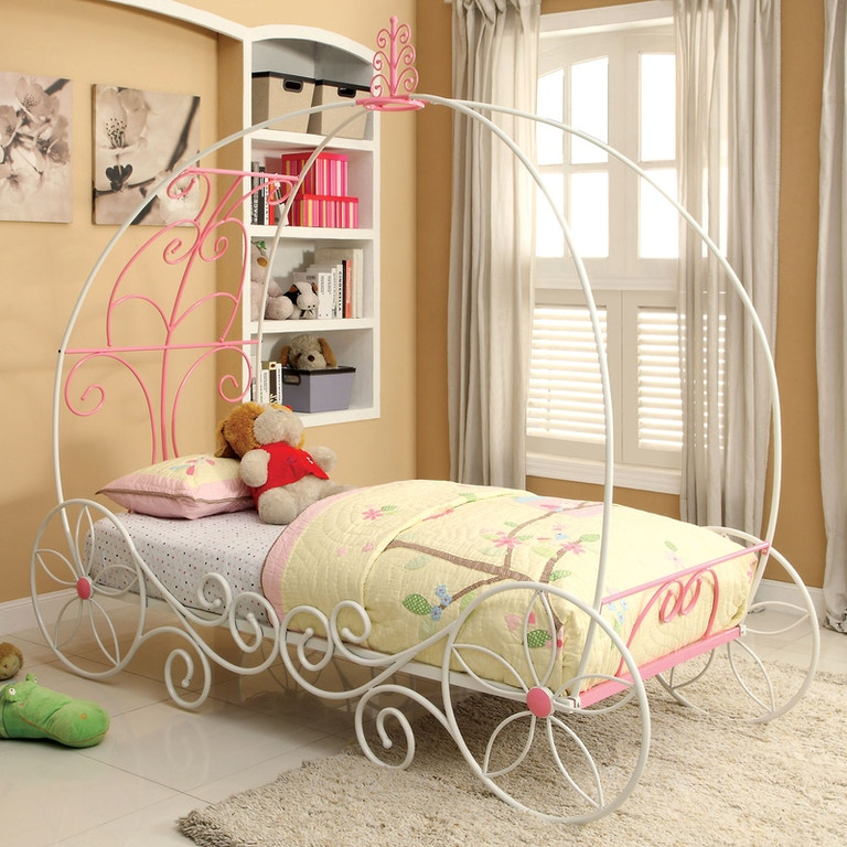 All American Furniture El Paso: Furniture Of America Youth Twin Bed, Pink & White CM7705