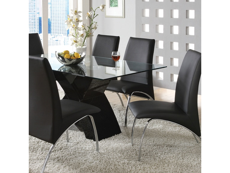 Furniture of America Dining Room Glass Top Dining Table ...