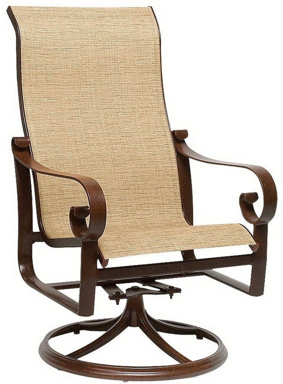 Pleasant Sling High Back Swivel Rocker Dining Arm Chair By Woodard Caraccident5 Cool Chair Designs And Ideas Caraccident5Info