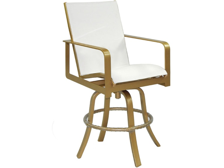 Outdoorpatio High Back Sling Swivel Bar Stool By Castelle 7669s