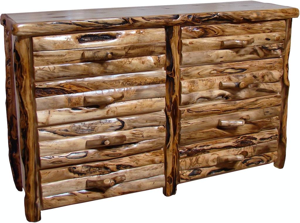 Rustic Log Furniture Bedroom 72 W 8 Drawer Dresser Log Front 8ddl 72 Ng Smoky S Furniture