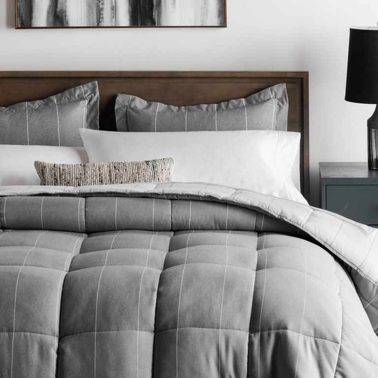 Malouf Sleep Bedroom Chambray Comforter Set Oversized King Flint Ma90okftmico Markson S Furniture